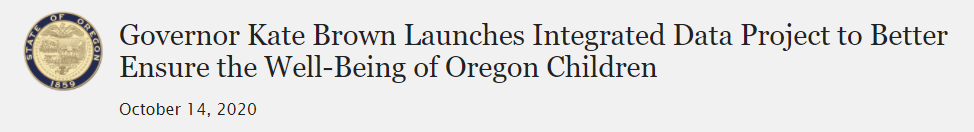Governor Kate Brown Launches Integrated Data Project to Better Ensure the Well-Being of Oregon Children